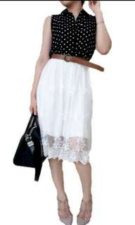 Polkadots Sleeveless Top and Lace Botto Dress With Belt