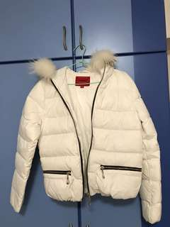 White Winter Jacket with faux fur