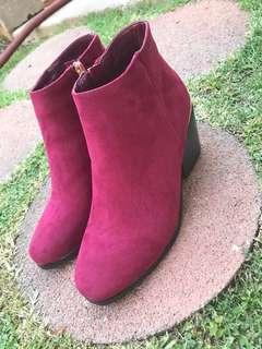 Velvet red ankle boots