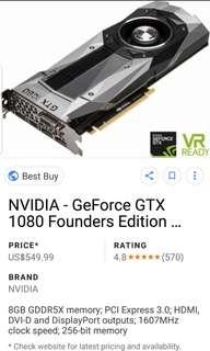 Nvidia GTX 1080 Founders Edition Gigabyte