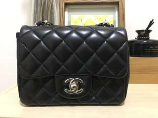 Chanel Mini Square 17cm Silver Black Lambskin