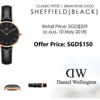 [Cheapest!] Authentic Daniel Wellington Classic Petite Sheffield Black 32mm Rose Gold
