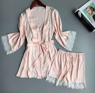 Silk Lace Robe With Slip Set Cami Shorts For Bridesmaids and Wedding