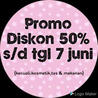 Promo diskon all variant fashion 50% s/d tgl 7 juni