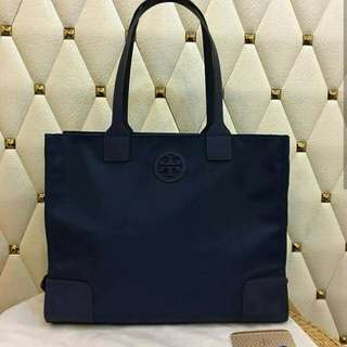 FREE SHIP Tory Burch Packable tote plain navy blue