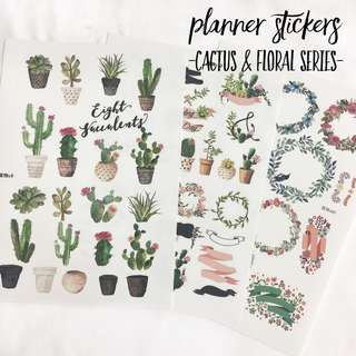[Ready Stock] Planner Sticker - Cactus & Floral Series (Uncut)