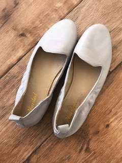 Grey Leather Slip On Loafers Size 36