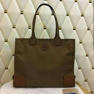 FREE SHIP Tory Burch Packable tote handbag shoulder bag brown