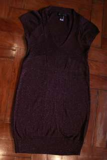 Purple Mango V neck Dress