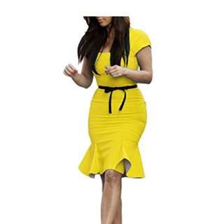 NEW Miusol yellow stretchy dress - size M