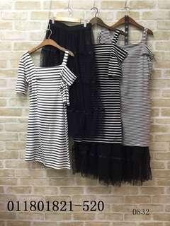 🚚 橫條洋+紗裙