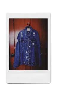 Ripped Denim Jacket with Shirts set