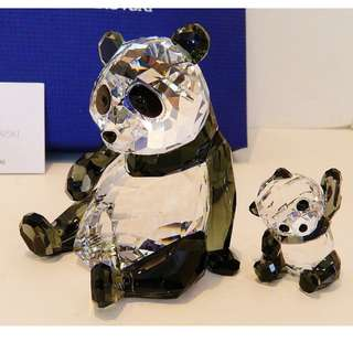 SWAROVSKI 2015 CRYSTAL PANDA MOTHER WITH BABY #5063690 with box