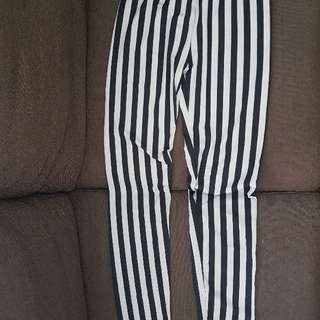 Striped Leggings (Satin Cloth)