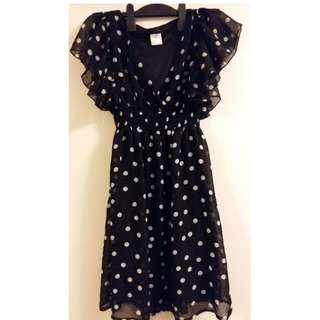 Black polkadot dress - size M