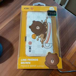 Line friends  Brown power bank 8000Mah - ICBC 全新未開封