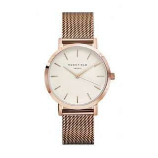 Rosefield Rose Gold/White Mercer Mesh Watch MWR-M42