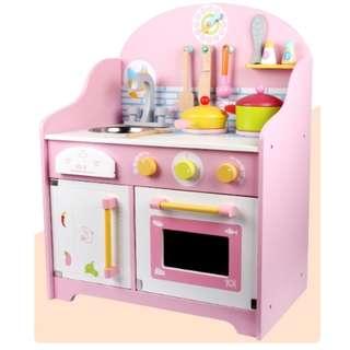 【現貨+預購】XB - 粉紅少女心:木製!扮家家酒*廚具組(產品尺寸:63*48*30cm/包裝尺寸:36*33*21cm)_免運。