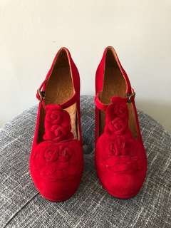 Chie Mihara - red flower T-strap heels 39.5