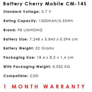 Cherry Mobile C20i Battery CM-14S ~ 98