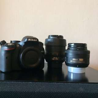 Nikon D5200 with 18-55mm f/3.5-5.6G VR and 35mm f/1.8G (SET)