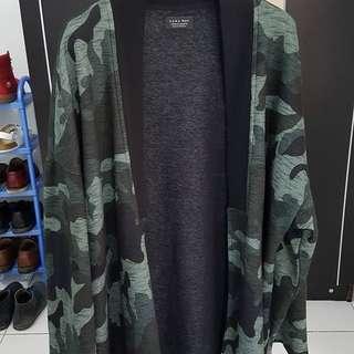 Zara Man, Kimono Cardigan, size M, Army/Camo