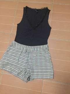 Mango brown sleeveless top & Aeropostale shorts