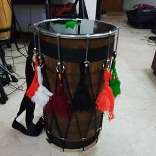 Dhol tunable with fibre soft case and stick set