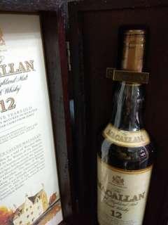 陳年老威,80年代收藏級,靚水位,陳年麥卡倫12年43%威士忌750ml連原裝精美珍藏木盒。