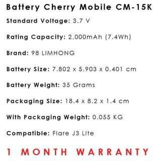 Cherry Mobile Flare J3 Lite Battery CM-15K ~ 98