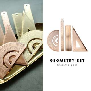 4PC Brass Geometry Set/ Copper/ Ruler/ Math Tool/ Protractor/ Triangle