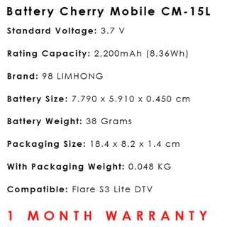 Cherry Mobile Flare S6 Lite DTV Battery CM-15L ~ 98