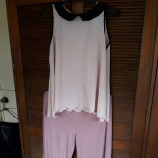 Old rose Terno loose silk pants with sleeveless top