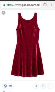 H&M DARK RED VELVET DRESS