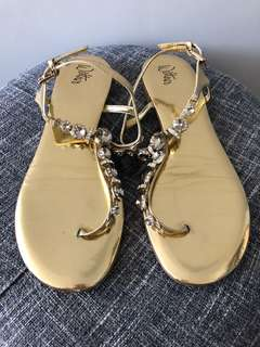 Wittner - gold metallic bling flat sandals 40