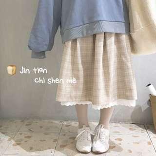 (預購) 推薦款 日系 奶茶 格子 格紋 花邊 蕾絲 裙
