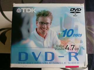 TDK DVD-R Recordable Discs 4.7GB x 10 pieces., Made in Japan!