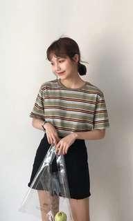 🚚 韓系撞色條紋短袖(4色)