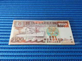 A/38 Singapore Ship Series $100 Note A/38 725008 Last Prefix Dollar Banknote Currency