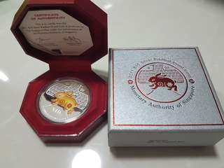 2011 Singapore Lunar Year of the Rabbit $10 2oz Silver Piedfort Proof Coin