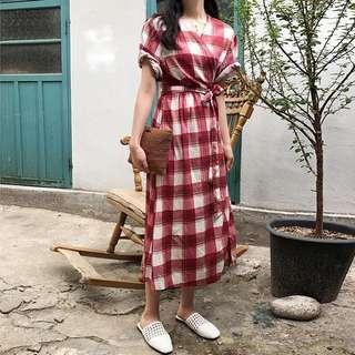 Korea retro color plaid one-piece waist lace long short-sleeved dress