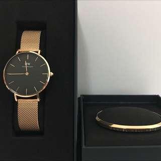 DW玫瑰金鋼錶加手扼套裝