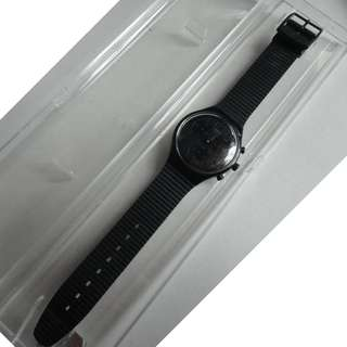 -勿壓價-SWATCH ・第一代黑豹・SWATCH BLACK IS BEAUTIFUL・SWISS MADE,22JEWELS,QUARTZ.三眼石英.
