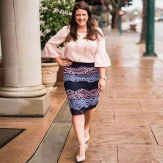 🍃Plus Size Formal Peach Bell Sleeved Blouse and Lace Skirt Ternoset