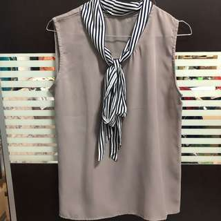 Grey tie sleeveless top
