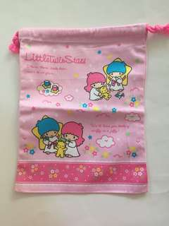 Sanrio vintage Little Twin Stars 25x20cm 索繩布袋 1998