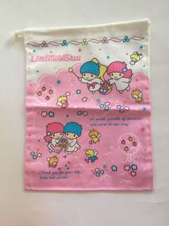 Sanrio vintage Little Twin Stars 25x20cm 索繩布袋 1999