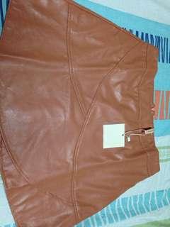 Pink leather like skirt