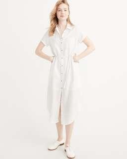 Abercrombie White Midi/Long Shirt Dress XS