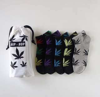 5 double boxed Hemp weed socks low cut for both men and women